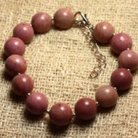 Bracelet 925 Sterling Silver And Stone – Rhodonite 10mm | Natural genuine Gemstone jewelry. Buy crystal jewelry, handmade handcrafted artisan jewelry for women.  Unique handmade gift ideas. #jewelry #beadedjewelry #beadedjewelry #gift #shopping #handmadejewelry #fashion #style #product #jewelry #affiliate #ad