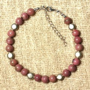 Shop Rhodonite Bracelets! Bracelet with Rhodonite and 925 sterling silver beads | Natural genuine Rhodonite bracelets. Buy crystal jewelry, handmade handcrafted artisan jewelry for women.  Unique handmade gift ideas. #jewelry #beadedbracelets #beadedjewelry #gift #shopping #handmadejewelry #fashion #style #product #bracelets #affiliate #ad