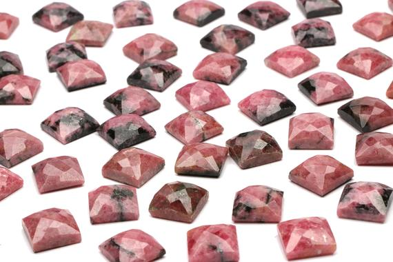 Rhodonite Square Stone, Faceted Rhodonite, Faceted Cabochons, Faceted Gemstones, Rose Cut Cabochon, Rose Cut Gem, Pink Cabochons - Aa Quality