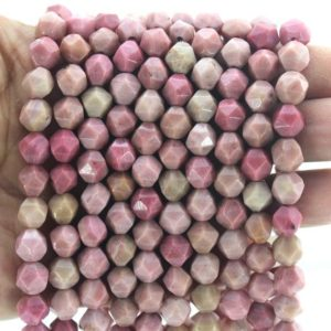 Shop Rhodonite Faceted Beads! 7x8mm Genuine Haitian Flower Rhodonite Beads Star Cut Faceted  Loose Beads , Pink rhodonite Gemstone Beads, 14 inches-approx45beads-NS10 | Natural genuine faceted Rhodonite beads for beading and jewelry making.  #jewelry #beads #beadedjewelry #diyjewelry #jewelrymaking #beadstore #beading #affiliate #ad