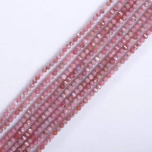 """Shop Rhodonite Beads! Rhodonite Beads, Rhodonite Round Faceted Beads AAA Quality Size 3 mm, Rhodonite Strand 15""""  Natural Gemstone 
