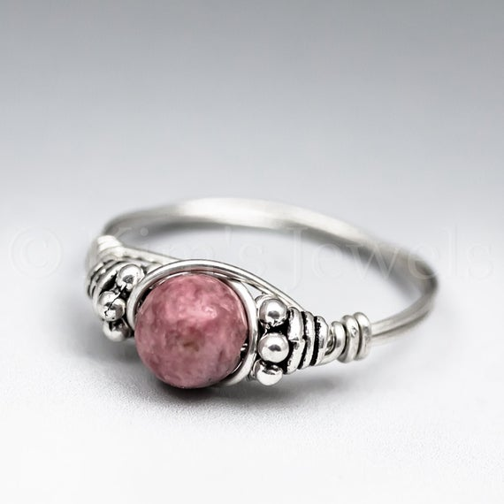 Rhodonite Bali Sterling Silver Wire Wrapped Gemstone Bead Ring - Made To Order, Ships Fast!