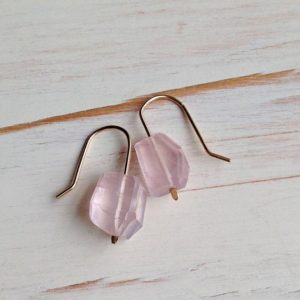 Shop Rose Quartz Earrings! Rose Quartz Earrings Rose Quartz Jewelry Rose Quartz Faceted Slab Earrings | Natural genuine Rose Quartz earrings. Buy crystal jewelry, handmade handcrafted artisan jewelry for women.  Unique handmade gift ideas. #jewelry #beadedearrings #beadedjewelry #gift #shopping #handmadejewelry #fashion #style #product #earrings #affiliate #ad
