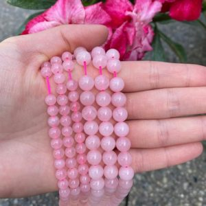 Shop Rose Quartz Bead Shapes! Rose Quartz Beads – Polished Rose Quartz – Beads 7in 15in Strand 4mm 6mm 8mm Bead Sizes – High Quality Rose Quartz – Rose Quartz Strand | Natural genuine other-shape Rose Quartz beads for beading and jewelry making.  #jewelry #beads #beadedjewelry #diyjewelry #jewelrymaking #beadstore #beading #affiliate #ad