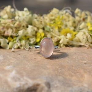Shop Rose Quartz Rings! Rose Quartz Ring, Rose Quartz Jewelry, 925 Silver Ring, Oval Ring, Boho Ring, Dainty Ring, Bezel Ring, Christmas Sale, Mom Gift, Artisan | Natural genuine Rose Quartz rings, simple unique handcrafted gemstone rings. #rings #jewelry #shopping #gift #handmade #fashion #style #affiliate #ad