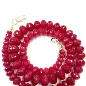 "Shop Ruby Faceted Beads! Natural Ruby Faceted Rondelle Beads Ruby Gemstone Beads Ruby Rondelle Beads Superb Quality Latest Ruby Beads 17"" Strand 