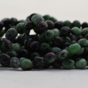"""Shop Ruby Zoisite Chip & Nugget Beads! High Quality Grade A Natural Ruby Zoisite Semi-precious Gemstone Pebble Tumbled stone Nugget Beads approx 7mm-10mm – 15"""" strand 