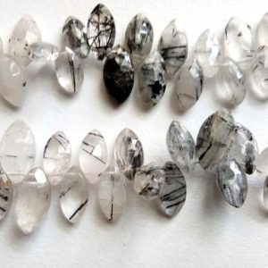 Shop Rutilated Quartz Bead Shapes! 5×9-7.5x14mm Rutile Quartz Marquise Beads, Rutile Faceted Marquise, Rutile With Black Needles For Necklace (4IN To 8IN Options) – GS5039 | Natural genuine other-shape Rutilated Quartz beads for beading and jewelry making.  #jewelry #beads #beadedjewelry #diyjewelry #jewelrymaking #beadstore #beading #affiliate #ad