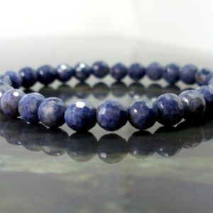 Shop Sapphire Bracelets! Natural faceted Blue Sapphire 4mm Bracelet, Natural Gemstone Bracelet, Unisex Women Men Beaded Bracelet, Gift for Her for Him + Gift Box | Natural genuine Sapphire bracelets. Buy crystal jewelry, handmade handcrafted artisan jewelry for women.  Unique handmade gift ideas. #jewelry #beadedbracelets #beadedjewelry #gift #shopping #handmadejewelry #fashion #style #product #bracelets #affiliate #ad