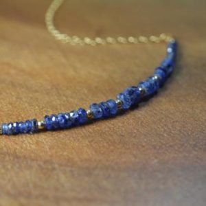 Shop Sapphire Necklaces! Natural Burmese Blue Sapphire Necklace in 14k Gold Fill // September Birthstone // 5th, 45th Anniversary // Dainty Blue  Sapphire Necklace | Natural genuine Sapphire necklaces. Buy crystal jewelry, handmade handcrafted artisan jewelry for women.  Unique handmade gift ideas. #jewelry #beadednecklaces #beadedjewelry #gift #shopping #handmadejewelry #fashion #style #product #necklaces #affiliate #ad