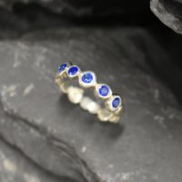 Sapphire Band, Created Sapphire, Sapphire Ring, Half Eternity Ring, Blue Diamond Ring, Blue Vintage Ring, Eternity Ring, Solid Silver Ring | Natural genuine Gemstone jewelry. Buy crystal jewelry, handmade handcrafted artisan jewelry for women.  Unique handmade gift ideas. #jewelry #beadedjewelry #beadedjewelry #gift #shopping #handmadejewelry #fashion #style #product #jewelry #affiliate #ad