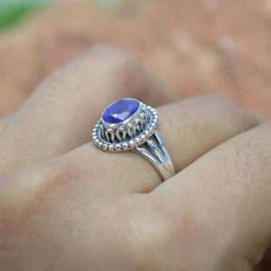 Shop Unique Sapphire Engagement Rings! Blue Sapphire 925 Sterling Silver Ring Gemstone Ring, Handmade Ring | Natural genuine Sapphire rings, simple unique handcrafted gemstone rings. #rings #jewelry #shopping #gift #handmade #fashion #style #affiliate #ad