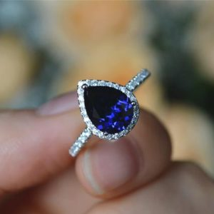 Shop Sapphire Rings! Pear Sapphire Ring Lab Sapphire Engagement Ring/ Wedding Ring Anniversary Ring Promise Ring | Natural genuine Sapphire rings, simple unique alternative gemstone engagement rings. #rings #jewelry #bridal #wedding #jewelryaccessories #engagementrings #weddingideas #affiliate #ad