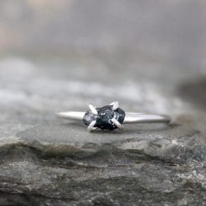 Raw Blue Sapphire Ring – Uncut Blue Sapphire – Sterling Silver – Sapphire Engagement Ring  – Stacking Rings – September Birthstone Ring | Natural genuine Array rings, simple unique alternative gemstone engagement rings. #rings #jewelry #bridal #wedding #jewelryaccessories #engagementrings #weddingideas #affiliate #ad