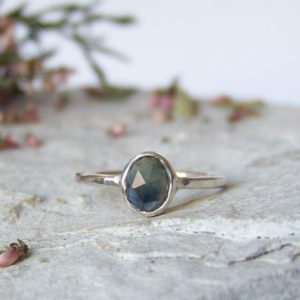Sapphire ring, rose cut sapphire ring, greenish blue sapphire, delicate stacking sterling silver ring, custom ring | Natural genuine Gemstone rings, simple unique handcrafted gemstone rings. #rings #jewelry #shopping #gift #handmade #fashion #style #affiliate #ad