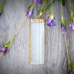 Shop Selenite Pendants! Large 2'' Selenite Vertical Rectangle Pendant Gold Edge 18k Gold Rolo Chain Necklace Or Pendant Only | Natural genuine Selenite pendants. Buy crystal jewelry, handmade handcrafted artisan jewelry for women.  Unique handmade gift ideas. #jewelry #beadedpendants #beadedjewelry #gift #shopping #handmadejewelry #fashion #style #product #pendants #affiliate #ad