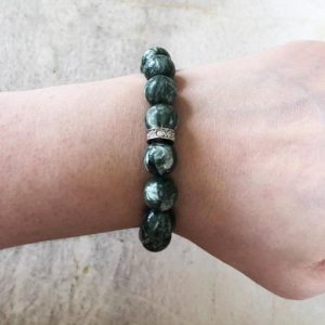Shop Seraphinite Bracelets! Chatoyant Seraphinite and Swarovski Crystal 12mm Round Beaded Stretch Stacking Bracelet – Top Quality | Natural genuine Seraphinite bracelets. Buy crystal jewelry, handmade handcrafted artisan jewelry for women.  Unique handmade gift ideas. #jewelry #beadedbracelets #beadedjewelry #gift #shopping #handmadejewelry #fashion #style #product #bracelets #affiliate #ad