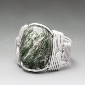 Seraphinite Clinochlore Sterling Silver Wire Wrapped Gemstone Cabochon Ring – Optional Oxidation/Antiquing – Made to Order, Ships Fast! | Natural genuine Gemstone rings, simple unique handcrafted gemstone rings. #rings #jewelry #shopping #gift #handmade #fashion #style #affiliate #ad