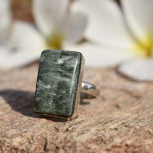 Shop Seraphinite Rings! Seraphinite Ring, Sterling Silver Ring, Boho Ring, Gemstone Ring, Promise Ring, Friendship Ring, Hippie Jewelry, Christmas Gift, Wedding   Natural genuine Seraphinite rings, simple unique alternative gemstone engagement rings. #rings #jewelry #bridal #wedding #jewelryaccessories #engagementrings #weddingideas #affiliate #ad