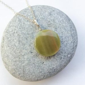 Tiny round Serpentine pendant, Natural Serpentine stone, Light green-orange, Small pendant, Round shape, sterling silver pendant, Green gem | Natural genuine Serpentine pendants. Buy crystal jewelry, handmade handcrafted artisan jewelry for women.  Unique handmade gift ideas. #jewelry #beadedpendants #beadedjewelry #gift #shopping #handmadejewelry #fashion #style #product #pendants #affiliate #ad