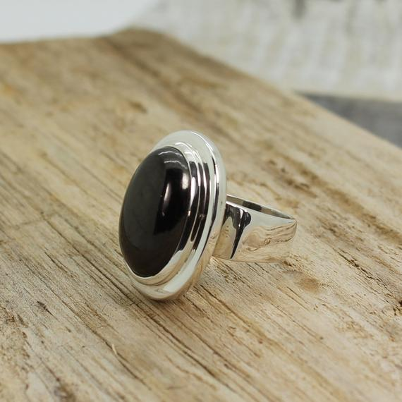 A Beauty...shungite Ring Oval Shape Cab Of Quality Black Shungite Stone Set On 925 Sterling Silver Quality Nickel Free Solid Silver Unisex