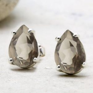 Smoky Quartz Earrings, pear Drop Earrings, brown Earrings, silver Post Earrings, silver Stud Earrings, silver Earrings | Natural genuine Smoky Quartz earrings. Buy crystal jewelry, handmade handcrafted artisan jewelry for women.  Unique handmade gift ideas. #jewelry #beadedearrings #beadedjewelry #gift #shopping #handmadejewelry #fashion #style #product #earrings #affiliate #ad