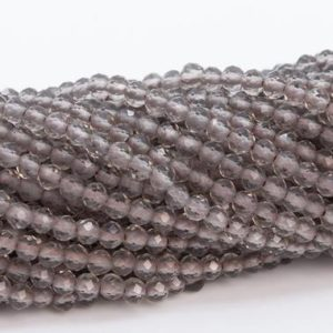 "Shop Smoky Quartz Faceted Beads! 2MM Smoky Quartz Beads Grade AA Genuine Natural Gemstone Full Strand Faceted Round Loose Beads 15"" Bulk Lot Options (110684-3218) 