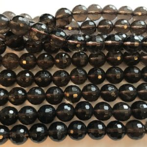 "Shop Smoky Quartz Faceted Beads! Natural  smoky quartz 10mm,12mm faceted round Gemstone Beads—15.5""–1 strand/3 strands 