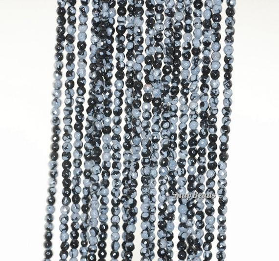 3mm Snowflake Obsidian Gemstone Grade A Faceted Round 3mm Loose Beads 15.5 Inch Full Strand (90181617-107-3g)