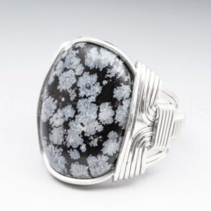 Shop Snowflake Obsidian Rings! Snowflake Obsidian Gemstone 18x25mm Cabochon Sterling Silver Wire Wrapped Ring -Optional Oxidation/Antiquing – Made to Order and Ships Fast! | Natural genuine Snowflake Obsidian rings, simple unique handcrafted gemstone rings. #rings #jewelry #shopping #gift #handmade #fashion #style #affiliate #ad