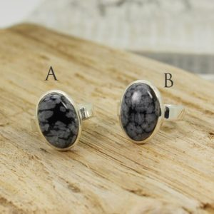 Shop Snowflake Obsidian Rings! Snowflake Obsidian ring oval shape cab of natural obsidian stone set on 925 sterling silver great quality jewelry nickel free | Natural genuine Snowflake Obsidian rings, simple unique handcrafted gemstone rings. #rings #jewelry #shopping #gift #handmade #fashion #style #affiliate #ad