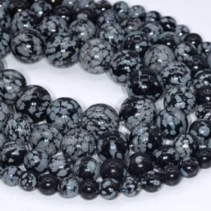 Shop Snowflake Obsidian Beads! Genuine Natural Snowflake Obsidian Loose Beads Round Shape 6mm 8-9mm 10mm 12mm | Natural genuine beads Snowflake Obsidian beads for beading and jewelry making.  #jewelry #beads #beadedjewelry #diyjewelry #jewelrymaking #beadstore #beading #affiliate #ad