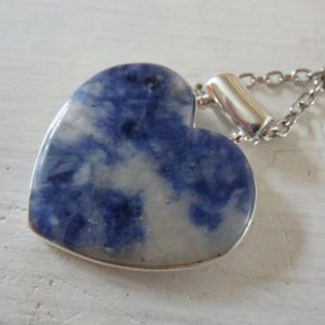 Shop Sodalite Pendants! Heart 925 Blue Sodalite Sterling Silver Pendant Necklace – Metaphysical  Sodalite Sterling Silver Necklace, Heart Necklace, One of a kind | Natural genuine Sodalite pendants. Buy crystal jewelry, handmade handcrafted artisan jewelry for women.  Unique handmade gift ideas. #jewelry #beadedpendants #beadedjewelry #gift #shopping #handmadejewelry #fashion #style #product #pendants #affiliate #ad
