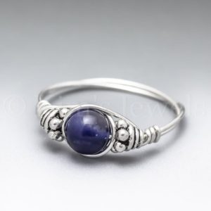 Gemmy Sodalite Bali Sterling Silver Wire Wrapped Gemstone BEAD Ring – Made to Order, Ships Fast! | Natural genuine Gemstone rings, simple unique handcrafted gemstone rings. #rings #jewelry #shopping #gift #handmade #fashion #style #affiliate #ad