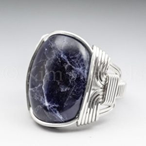 Sodalite Gemstone 18x25mm Cabochon Sterling Silver Wire Wrapped Ring – Optional Oxidation/Antiquing -Made to Order and Ships Fast! | Natural genuine Gemstone rings, simple unique handcrafted gemstone rings. #rings #jewelry #shopping #gift #handmade #fashion #style #affiliate #ad