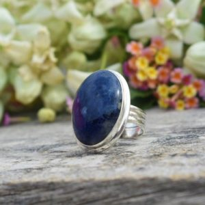 Shop Sodalite Rings! Natural Sodalite Ring, 925 Sterling Silver Ring, Oval Sodalite Gemstone Ring, Double Bezel Set, Triple Band Ring, Blue Gemstone Ring, Sale   Natural genuine Sodalite rings, simple unique handcrafted gemstone rings. #rings #jewelry #shopping #gift #handmade #fashion #style #affiliate #ad