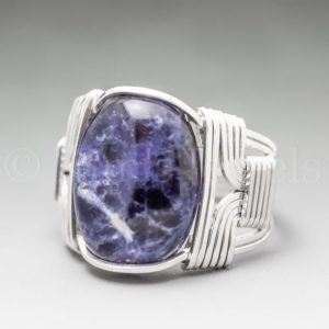 Sodalite Sterling Silver Wire Wrapped Gemstone Cabochon Ring – Optional Oxidation/Antiquing – Made to Order, Ships Fast! | Natural genuine Gemstone rings, simple unique handcrafted gemstone rings. #rings #jewelry #shopping #gift #handmade #fashion #style #affiliate #ad