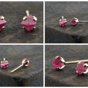 Shop Spinel Jewelry! Spinel crystal studs, pink red spinel earring, red stud earrings, 14K yellow gold, natural crystal gold stud earring, Hot pink crystal studs | Natural genuine Spinel jewelry. Buy crystal jewelry, handmade handcrafted artisan jewelry for women.  Unique handmade gift ideas. #jewelry #beadedjewelry #beadedjewelry #gift #shopping #handmadejewelry #fashion #style #product #jewelry #affiliate #ad