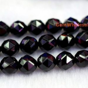 """Shop Spinel Beads! 15.5"""" 8mm/10mm Black spinal round faceted beads, black semi-precious stone,black color shinning faceted beads, jewelry supply DGW 