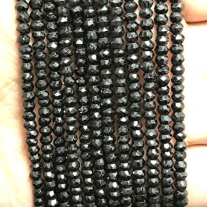 Shop Spinel Faceted Beads! ON SALE LOT of 2 strands of 3.5 – 4 mm Black Spinel Micro Faceted Rondelle  Gemstone Beads Strand / 4 mm Rondelle Beads / Faceted Rondelle   Natural genuine faceted Spinel beads for beading and jewelry making.  #jewelry #beads #beadedjewelry #diyjewelry #jewelrymaking #beadstore #beading #affiliate #ad