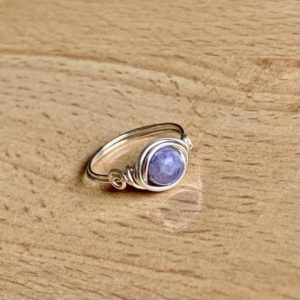 Shop Angelite Rings! Sterling Silver Angelite Ring/Gemstone Ring/Silver Wire Wrapped Ring/Healing Gemstone/Angel Gemstone/Angel Jewelry/Boho Ring/Blue Gemstone | Natural genuine Angelite rings, simple unique handcrafted gemstone rings. #rings #jewelry #shopping #gift #handmade #fashion #style #affiliate #ad