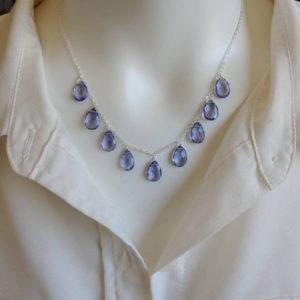 Shop Tanzanite Necklaces! Elegant tanzanite necklace. Your choice of gold filled, sterling silver, or rose gold | Natural genuine Tanzanite necklaces. Buy crystal jewelry, handmade handcrafted artisan jewelry for women.  Unique handmade gift ideas. #jewelry #beadednecklaces #beadedjewelry #gift #shopping #handmadejewelry #fashion #style #product #necklaces #affiliate #ad