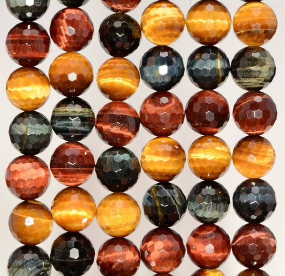 10mm Multi Color Tiger Eye Gemstone Grade Aaa Faceted Round Loose Beads 16 Inch Full Strand (80005649-472)