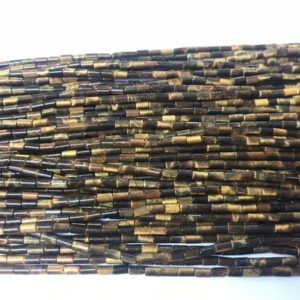 Shop Tiger Eye Bead Shapes! Genuine Yellow Tiger Eyes 2x4mm Column Natural Tube Beads 15 inch Jewelry Supply Bracelet Necklace Material Support | Natural genuine other-shape Tiger Eye beads for beading and jewelry making.  #jewelry #beads #beadedjewelry #diyjewelry #jewelrymaking #beadstore #beading #affiliate #ad