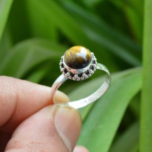 Shop Tiger Eye Rings! Natural Tiger Eye Ring ~ Handmade Silver Ring ~ 925 Sterling Silver Ring ~ 8mm Round Tiger Eye Ring ~ Tiger Eye Jewelry ~ Promise Ring   Natural genuine Tiger Eye rings, simple unique handcrafted gemstone rings. #rings #jewelry #shopping #gift #handmade #fashion #style #affiliate #ad
