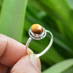 Shop Tiger Eye Rings! Natural Tiger Eye Ring   Women Rings   Tiger Eye Ring   Yellow Stone Ring   Oval Tiger Eye Ring   Statement Rings   Sterling Silver Rings   Natural genuine Tiger Eye rings, simple unique handcrafted gemstone rings. #rings #jewelry #shopping #gift #handmade #fashion #style #affiliate #ad