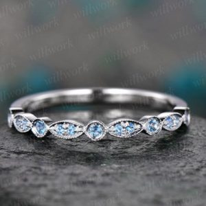 Blue topaz wedding ring topaz wedding band white gold half eternity engagement art deco marquise gift matching stacking bridal promise ring | Natural genuine Gemstone rings, simple unique alternative gemstone engagement rings. #rings #jewelry #bridal #wedding #jewelryaccessories #engagementrings #weddingideas #affiliate #ad