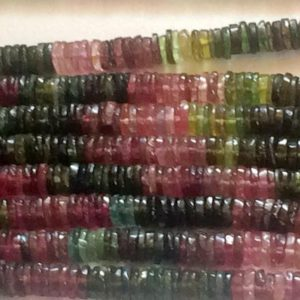 Shop Tourmaline Rondelle Beads! 6.5-7mm Multi Tourmaline Tyres, Natural Multi Tourmaline Spacer Beads, Multi Tourmaline For Jewelry (6.5IN To 13IN Options)- ADG109 | Natural genuine rondelle Tourmaline beads for beading and jewelry making.  #jewelry #beads #beadedjewelry #diyjewelry #jewelrymaking #beadstore #beading #affiliate #ad