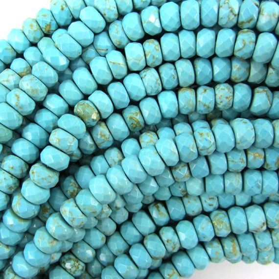 """6mm Faceted Blue Turquoise Rondelle Beads 15.5"""" Strand 34867"""