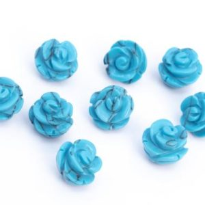 5 Beads Queen Blue Turquoise Handcrafted Beads Rose Carved Flower Stone 8MM 10MM 12MM 14MM Bulk Lot Options | Natural genuine other-shape Gemstone beads for beading and jewelry making.  #jewelry #beads #beadedjewelry #diyjewelry #jewelrymaking #beadstore #beading #affiliate #ad